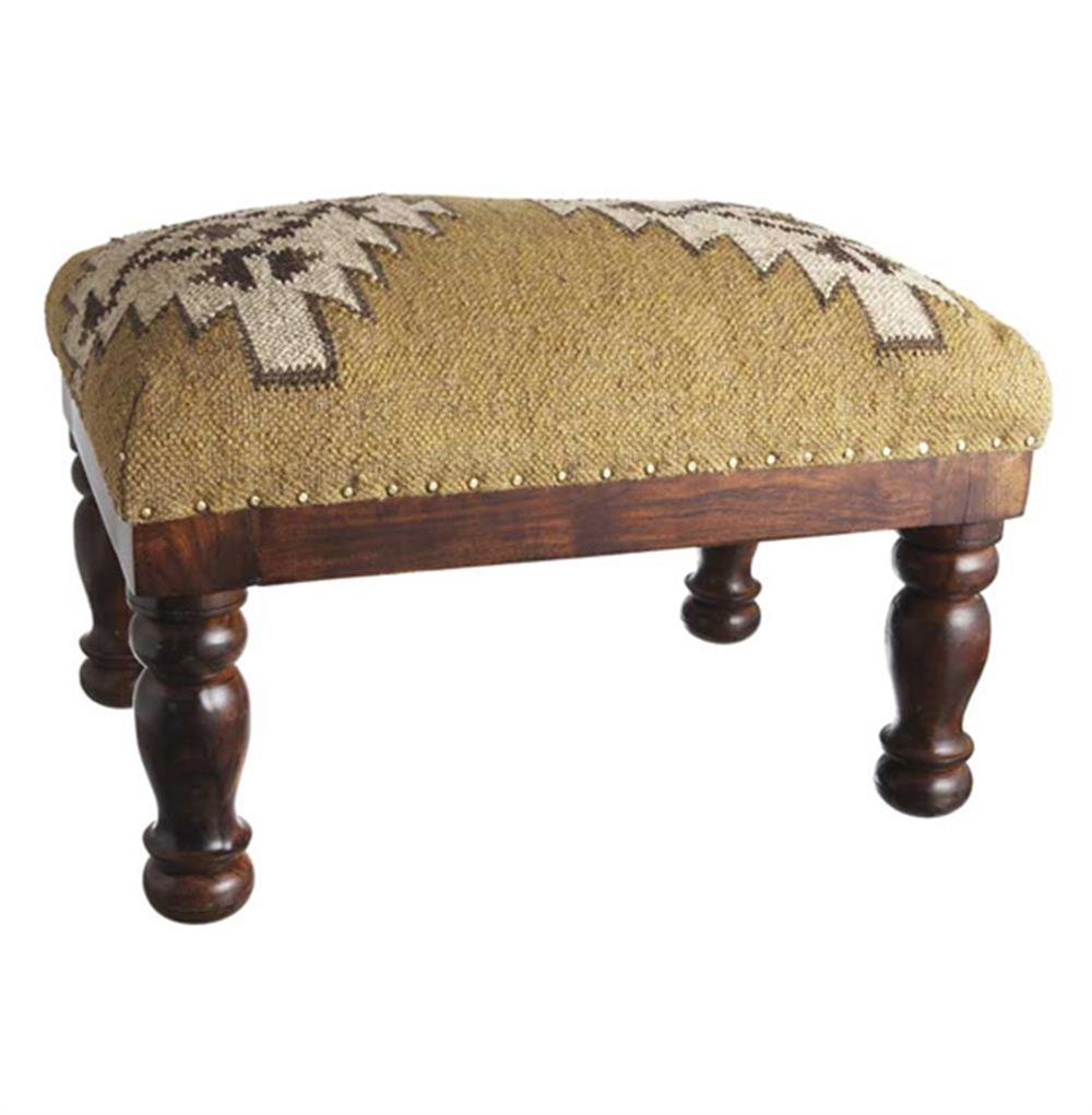 Ottomans Dakota Ottoman Box Oak Shade: Dakota Lodge Rustic Woven Kilim Stool Ottoman