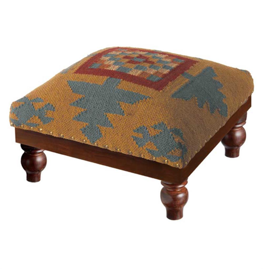 Ozark Lodge Rustic Southwest Kilim Foot Stool Ottoman