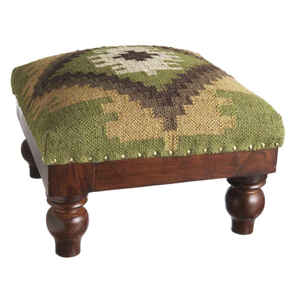 Heartland Lodge Rustic Woven Kilim Foot Stool Ottoman