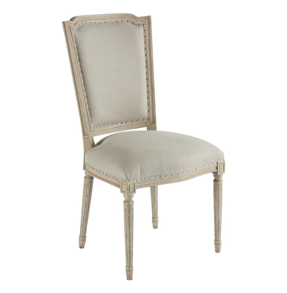 Pair Ethan French Country Grey Beige Linen Dining Chair Kathy Kuo Home