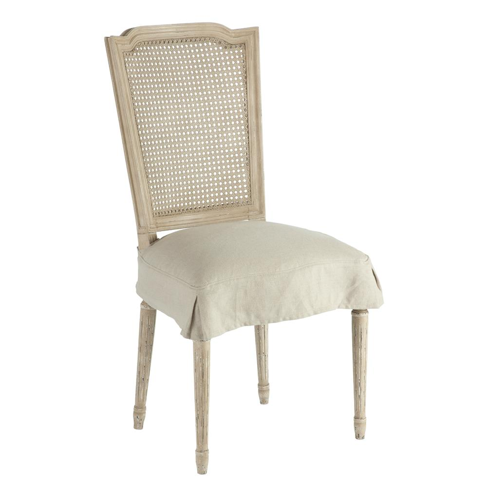Pair French Country Charcoal Caned Back Dining Chair