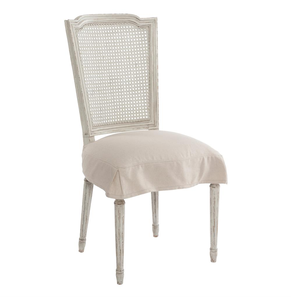 Pair French Country Antique White Slip Cover Dining Chair | Kathy Kuo Home - Pair French Country Antique White Slip Cover Dining Chair Kathy