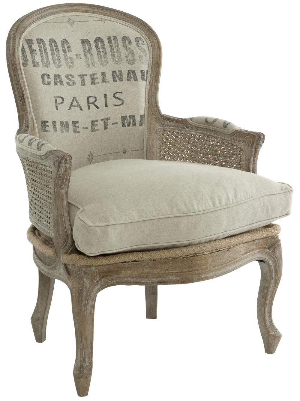 French country grain sack burlap occasional chair kathy for Furniture in french