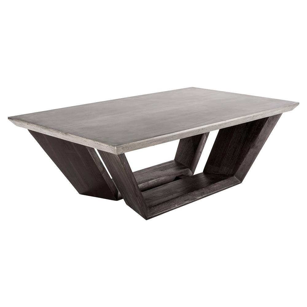 colvin industrial loft concrete dark wood rectangular coffee table kathy kuo home. Black Bedroom Furniture Sets. Home Design Ideas