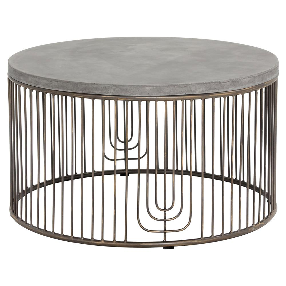 Fabien Industrial Loft Round Concrete Antique Silver Cage