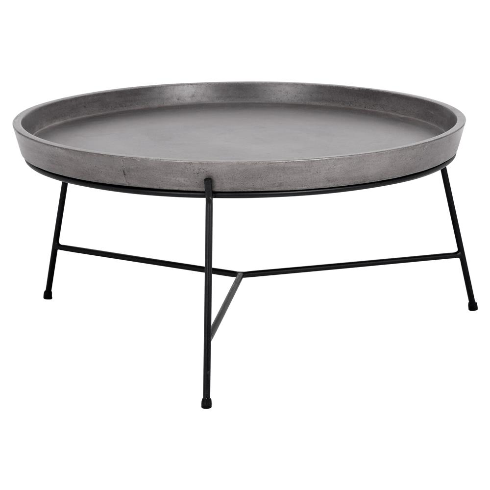 loomis industrial loft round concrete tray top black metal coffee table. Black Bedroom Furniture Sets. Home Design Ideas