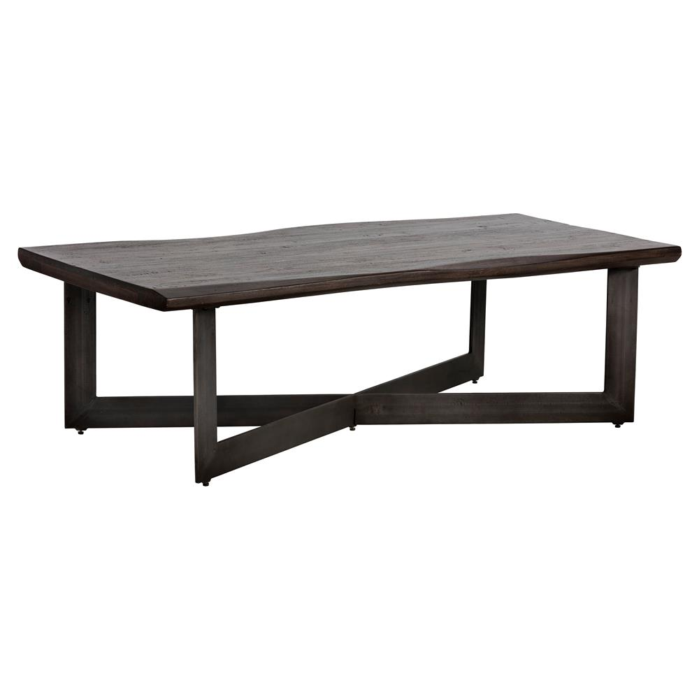 Rawley Rustic Loft Walnut Brown Wood Iron Rectangular X Frame Coffee Table Kathy Kuo Home
