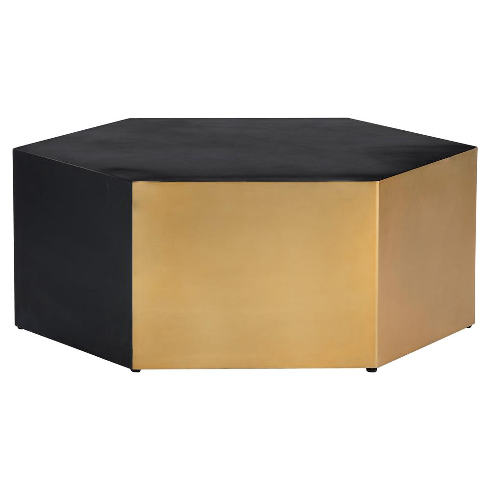 Combes modern classic black gold hexagon coffee table for Modern classic table