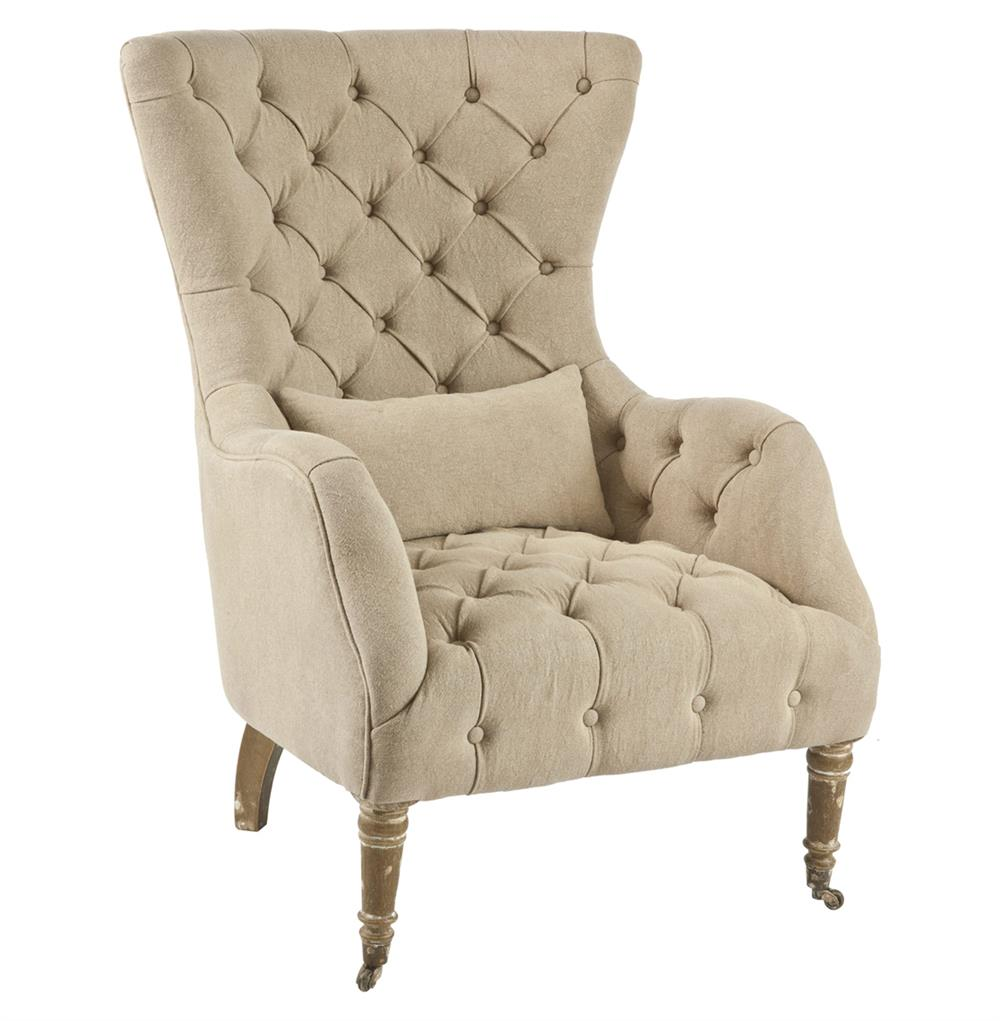 Olivia large tufted washed hemp wing back arm chair for Large dining chairs