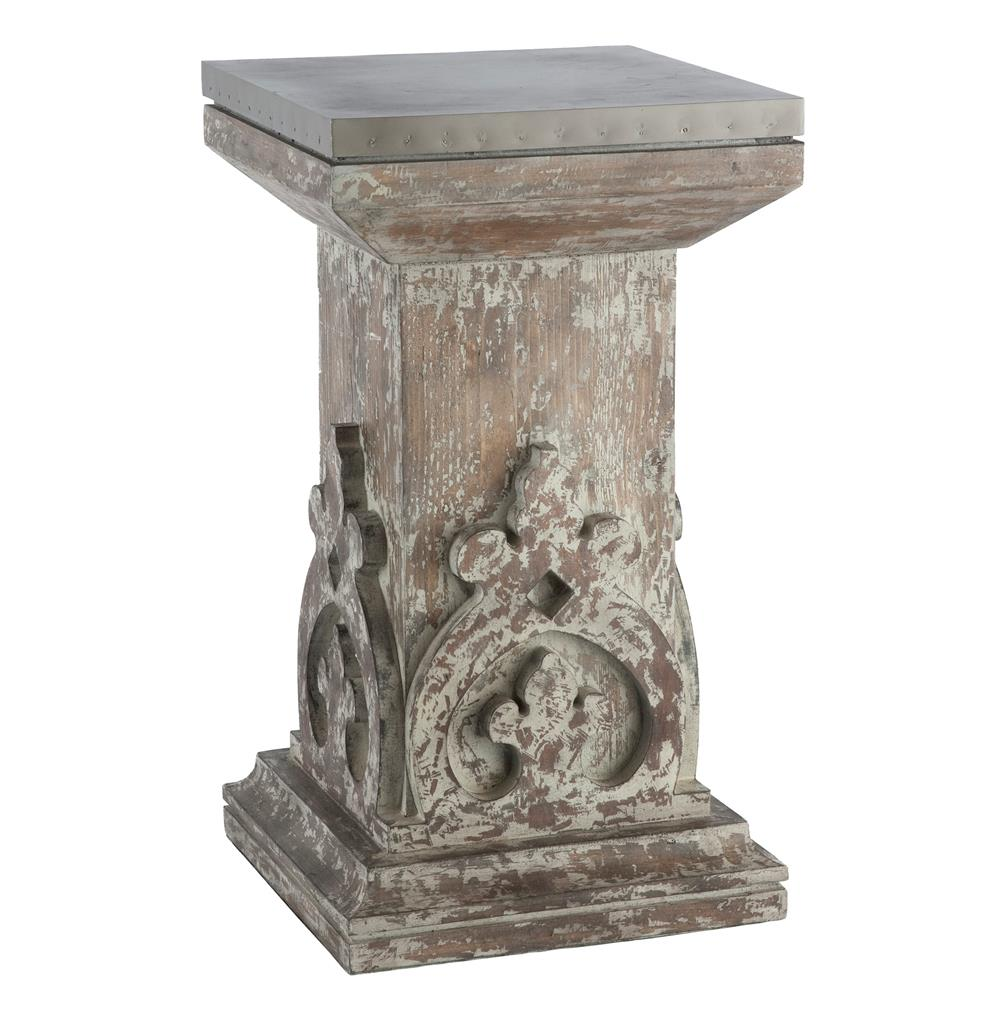 Aged european country hand carved column side table for Table column