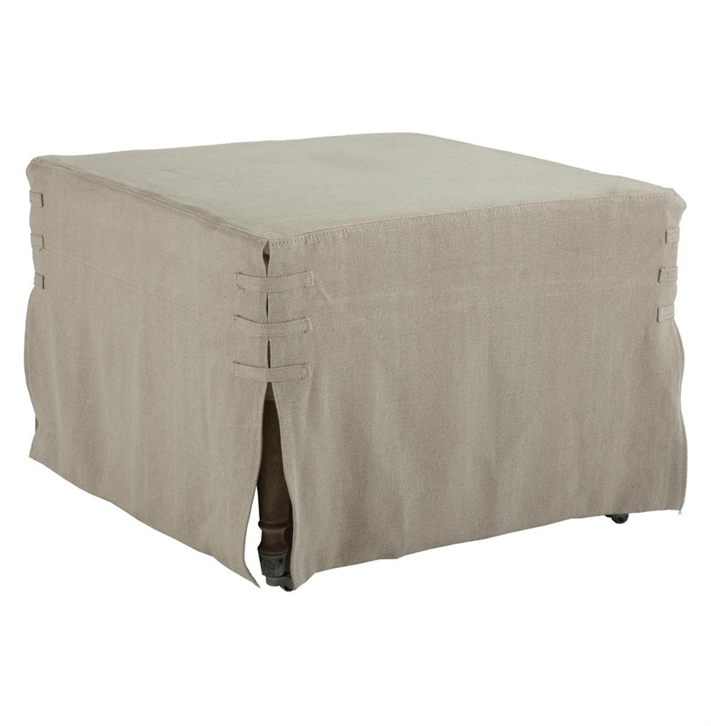 French Country 25 Square Ottoman Hemp Slipcover Kathy