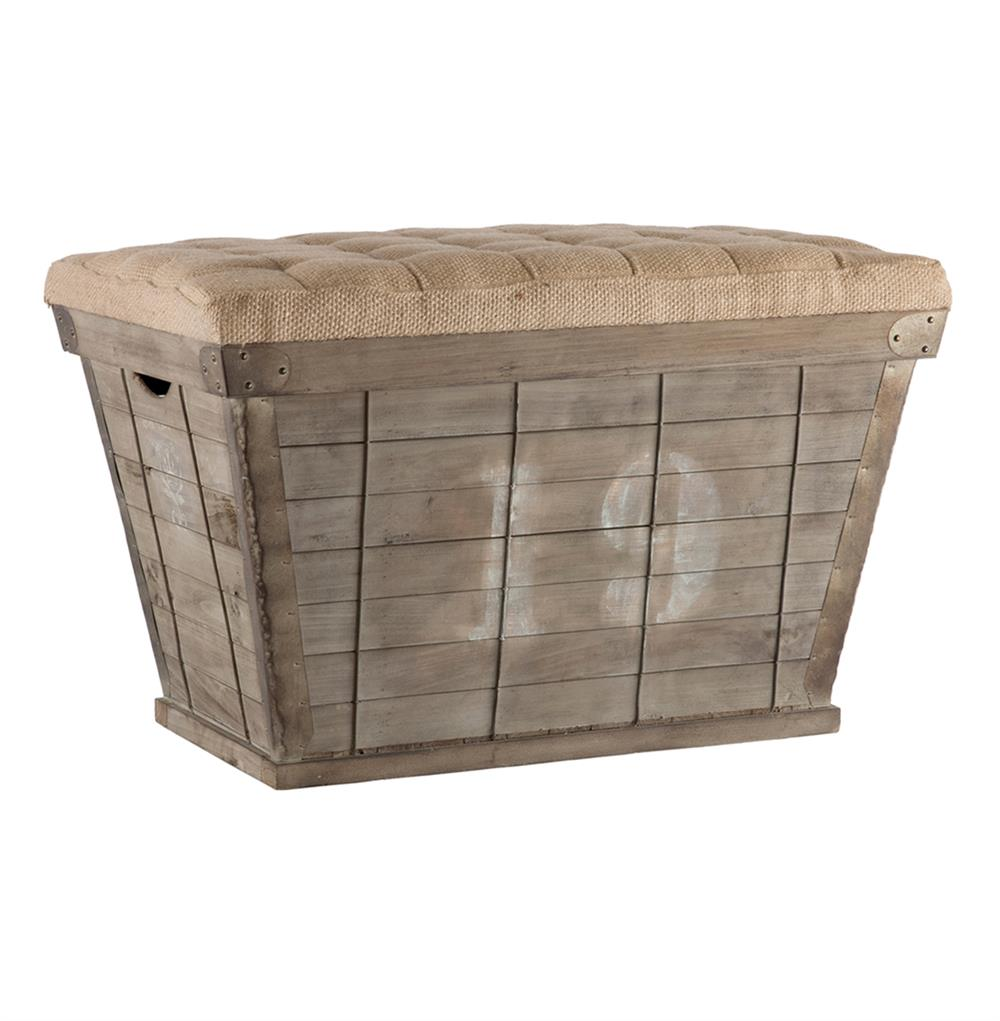 French country white lettering long storage crate burlap