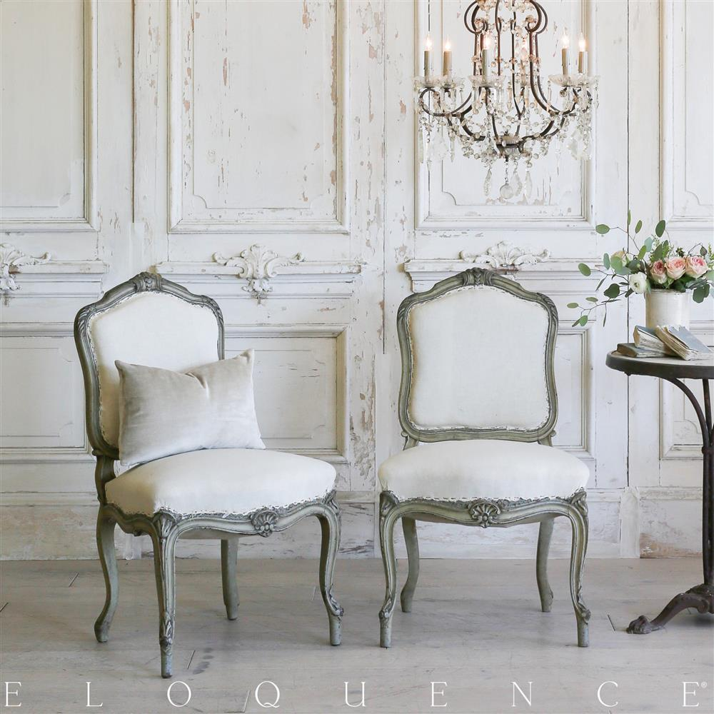 Eloquence French Country Style Pair of Antique Side Chairs: 1890