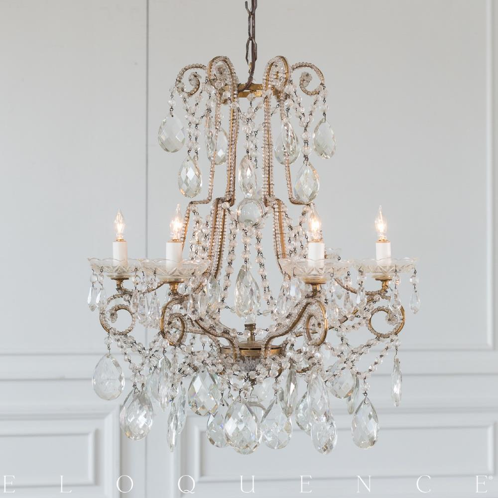 Eloquence French Country Style Antique Chandelier: 1890 | Kathy Kuo Home - Eloquence French Country Style Antique Chandelier: 1890 Kathy