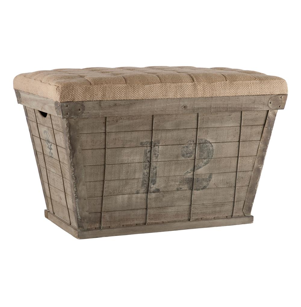 French Country Black Lettering Long Storage Crate Burlap Ottoman | Kathy  Kuo Home ...