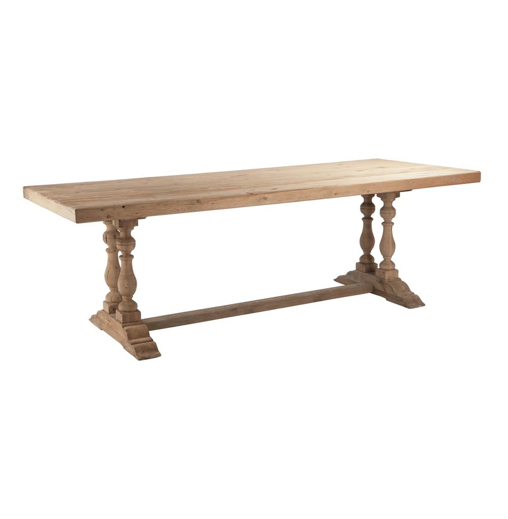 Parker solid european oak unfinished trestle base dining for Solid oak dining table