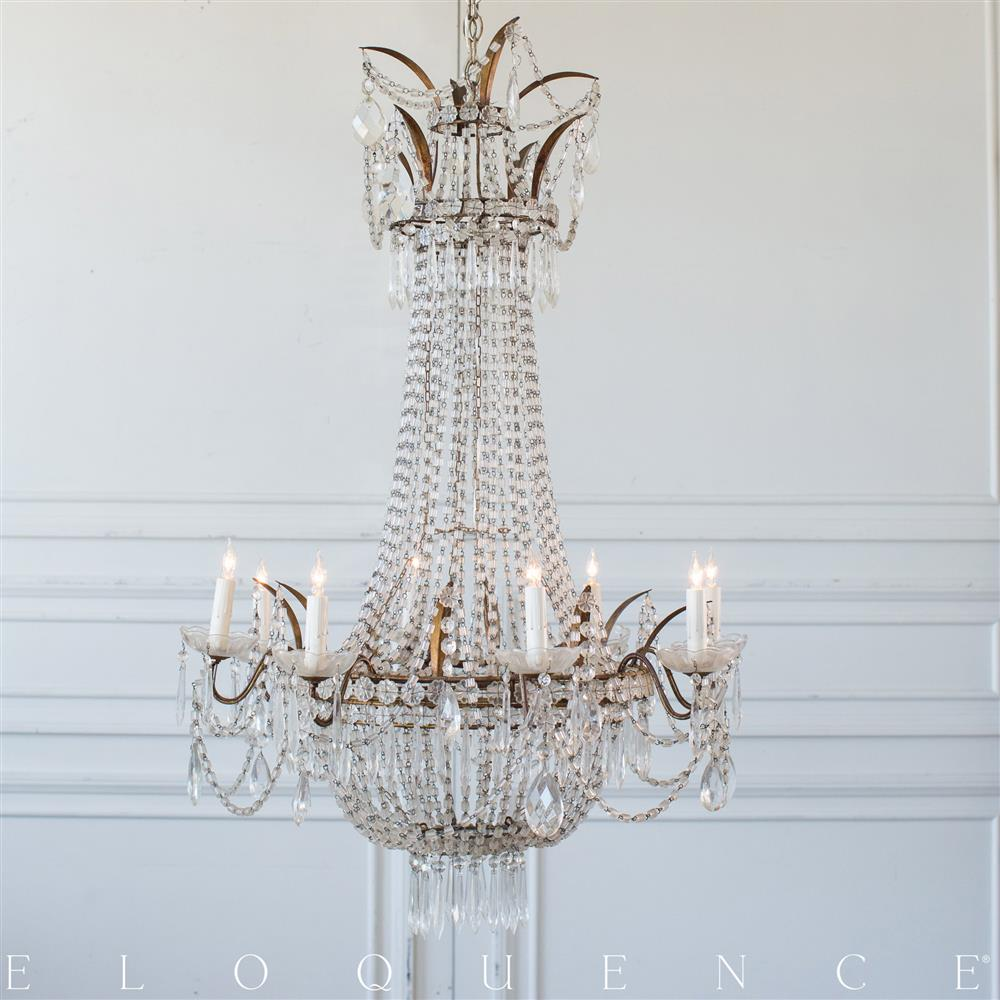 Eloquence french country style antique chandelier 1870 kathy kuo home mozeypictures Image collections