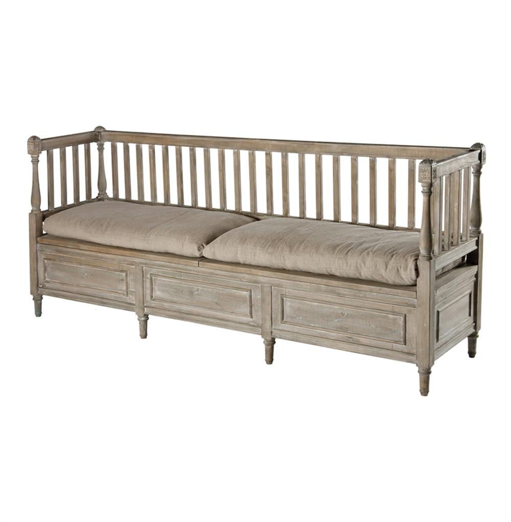 Damita french country weathered gray high back storage bench sofa long kathy kuo home Bench sofa