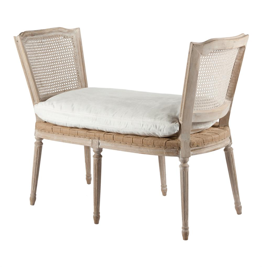 Ethan French Casual Country Bleached White Wash Caned Bench