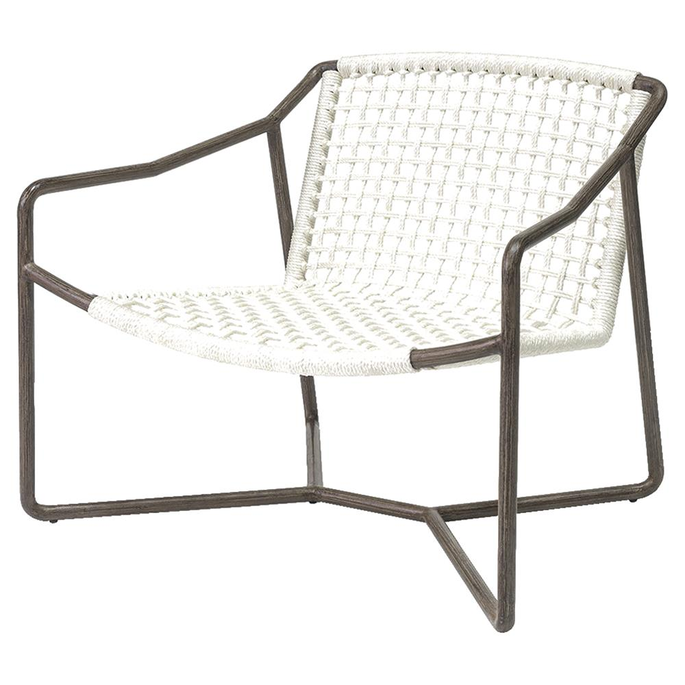 Palecek Dockside Modern Coastal Metal Hand Woven Rope Outdoor Lounge Chair Kathy Kuo Home