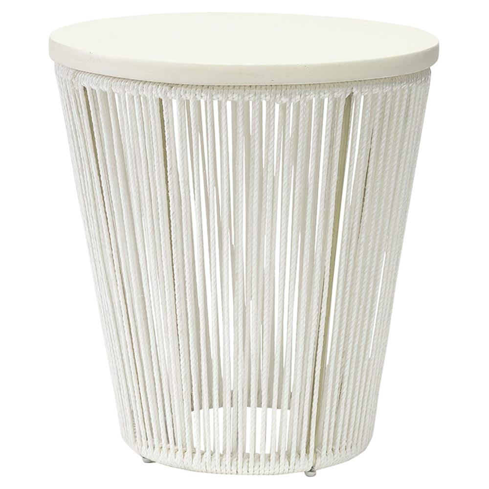 Palecek Sausalito Modern Coastal Wood Hand Woven White Round Side End Table  | Kathy Kuo Home ...