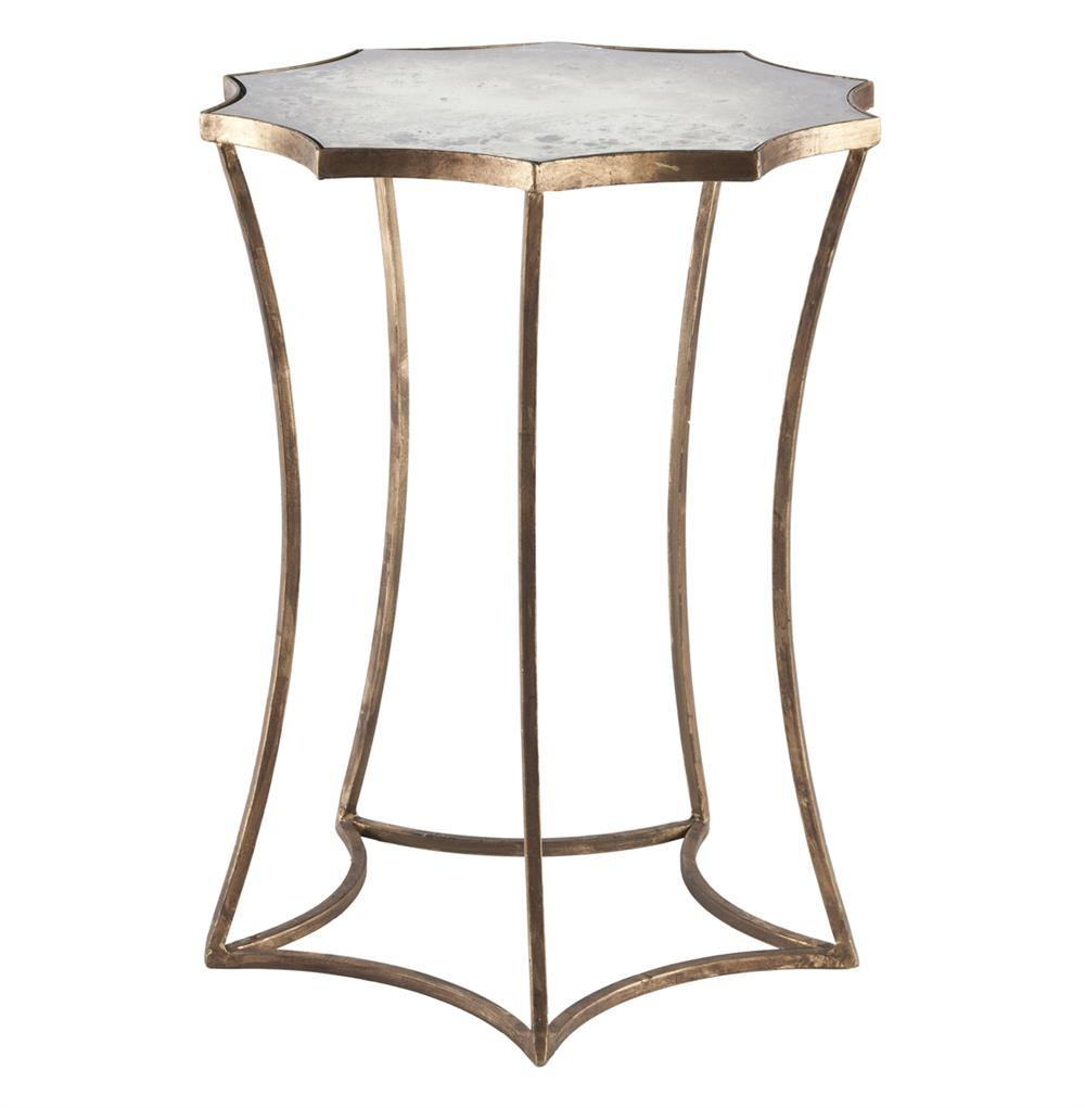 Astre Antique Gold Leaf Star Shaped Mirrored Side End Table Kathy Kuo Home