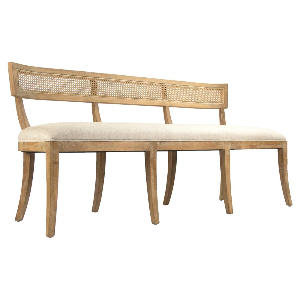 Bavette French Country Cream Linen Limed Oak Cane Back Dining Bench | Kathy  Kuo Home ...