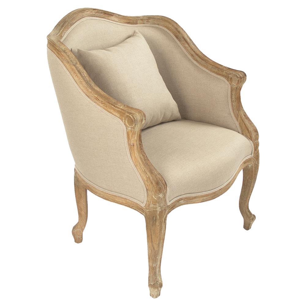 Corinne French Country Beige Linen Oak Barrel Club Chair