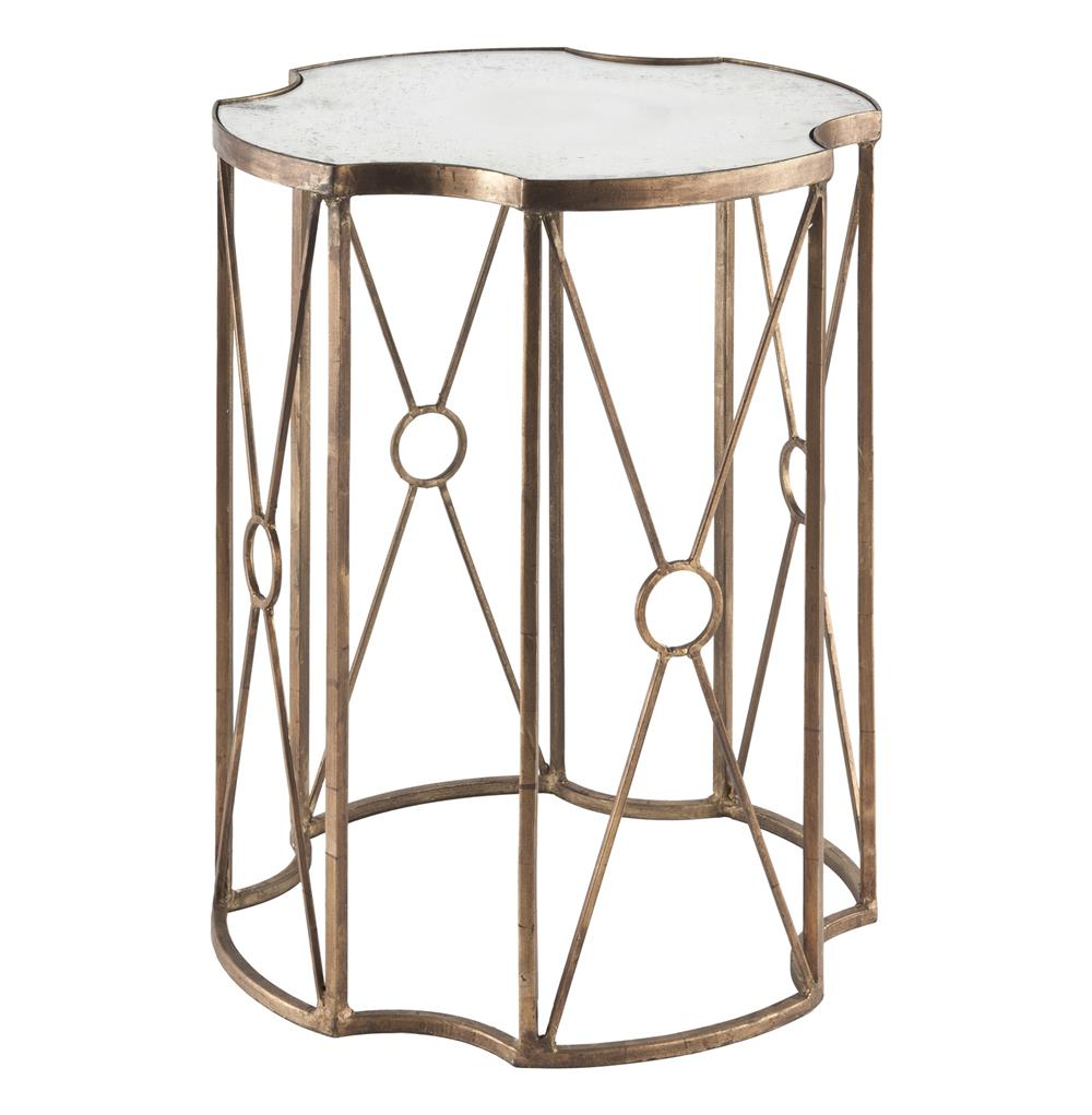 Marianna Hollywood Gold Leaf Antique Mirror End Table   20.5 Inches | Kathy  Kuo Home