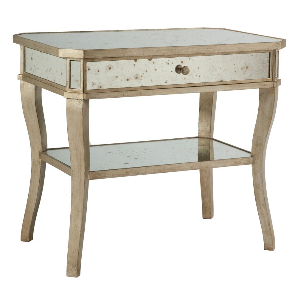 Mirror Bedside Table : Antique Mirror Aged Pewter Side Bedside End Table  Kathy Kuo Home