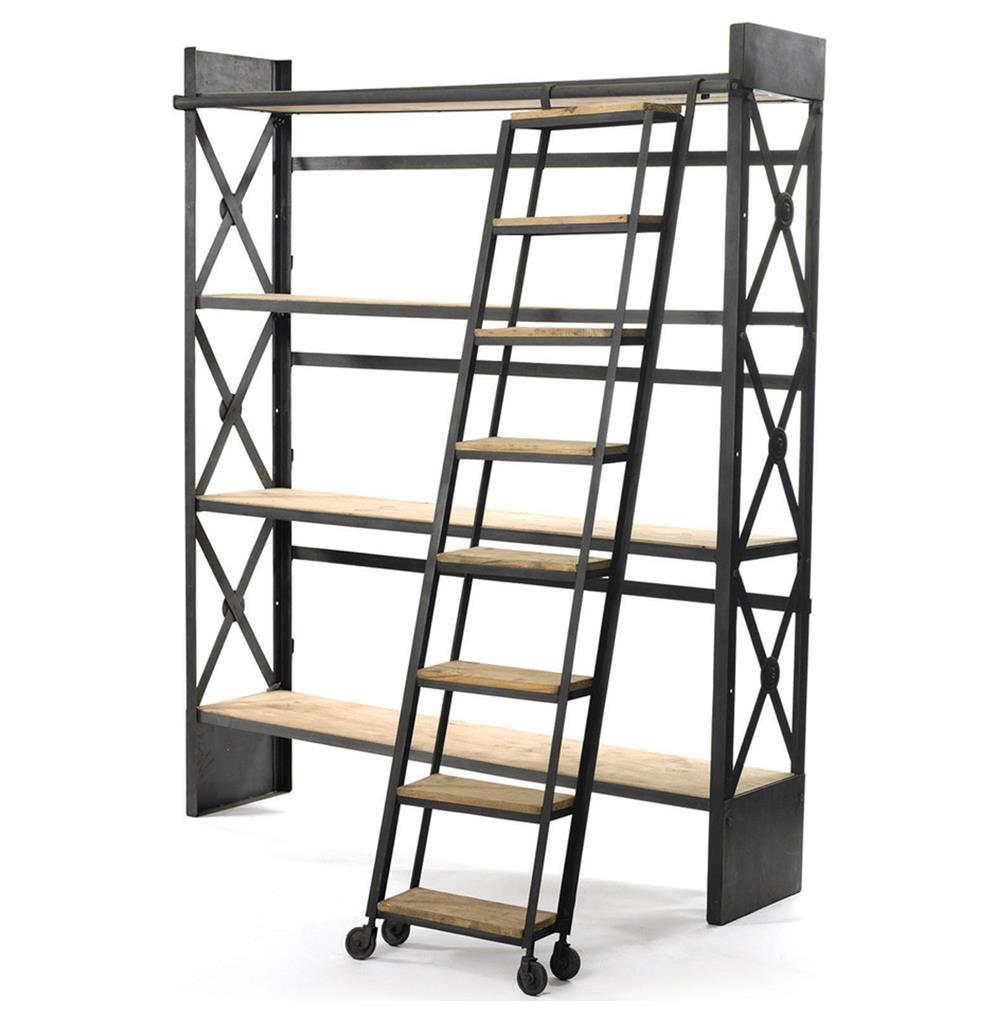 industrial loft reclaimed wood bookcase with ladder. Black Bedroom Furniture Sets. Home Design Ideas