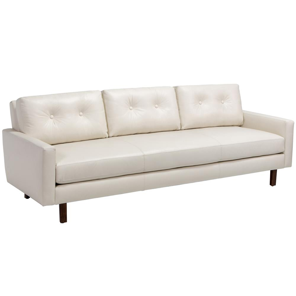 Brianna modern classic wood frame cream leather tufted for Sofa modern classic