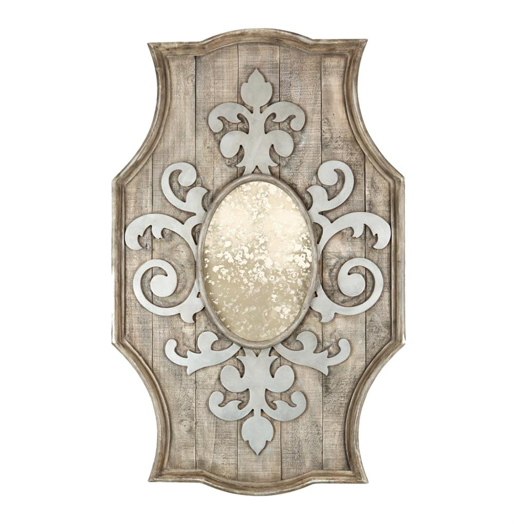 French country antique inspired fleur de lis wooden mirror for Antique french mirror
