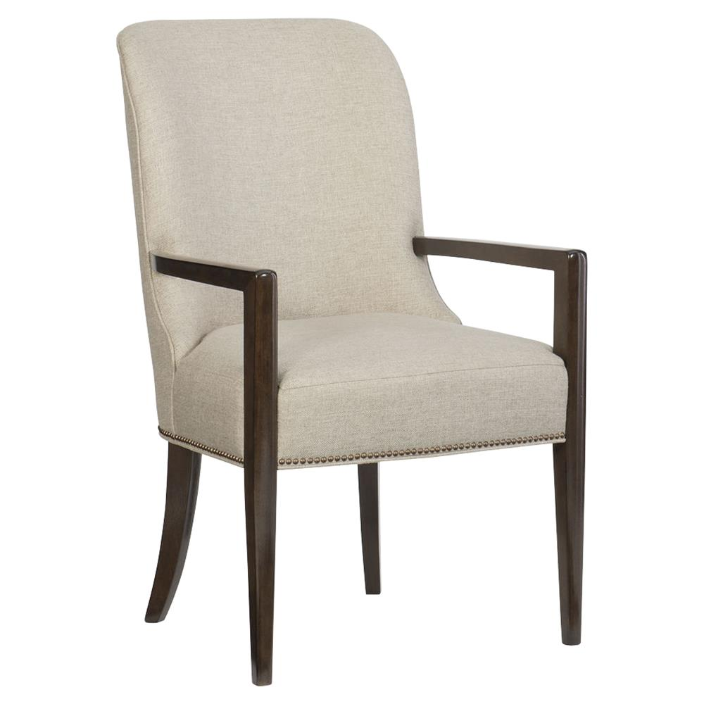 Goode Modern Classic Beige Upholstered Mid Century Curved Back Dining Arm  Chair | Kathy Kuo Home ... Amazing Pictures