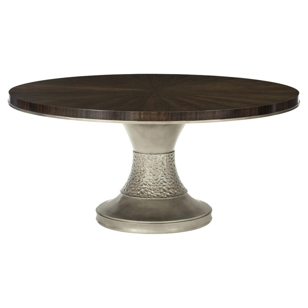 225 & Goode Modern Classic Dark Wood Bronze Resin Round Pedestal Dining Table