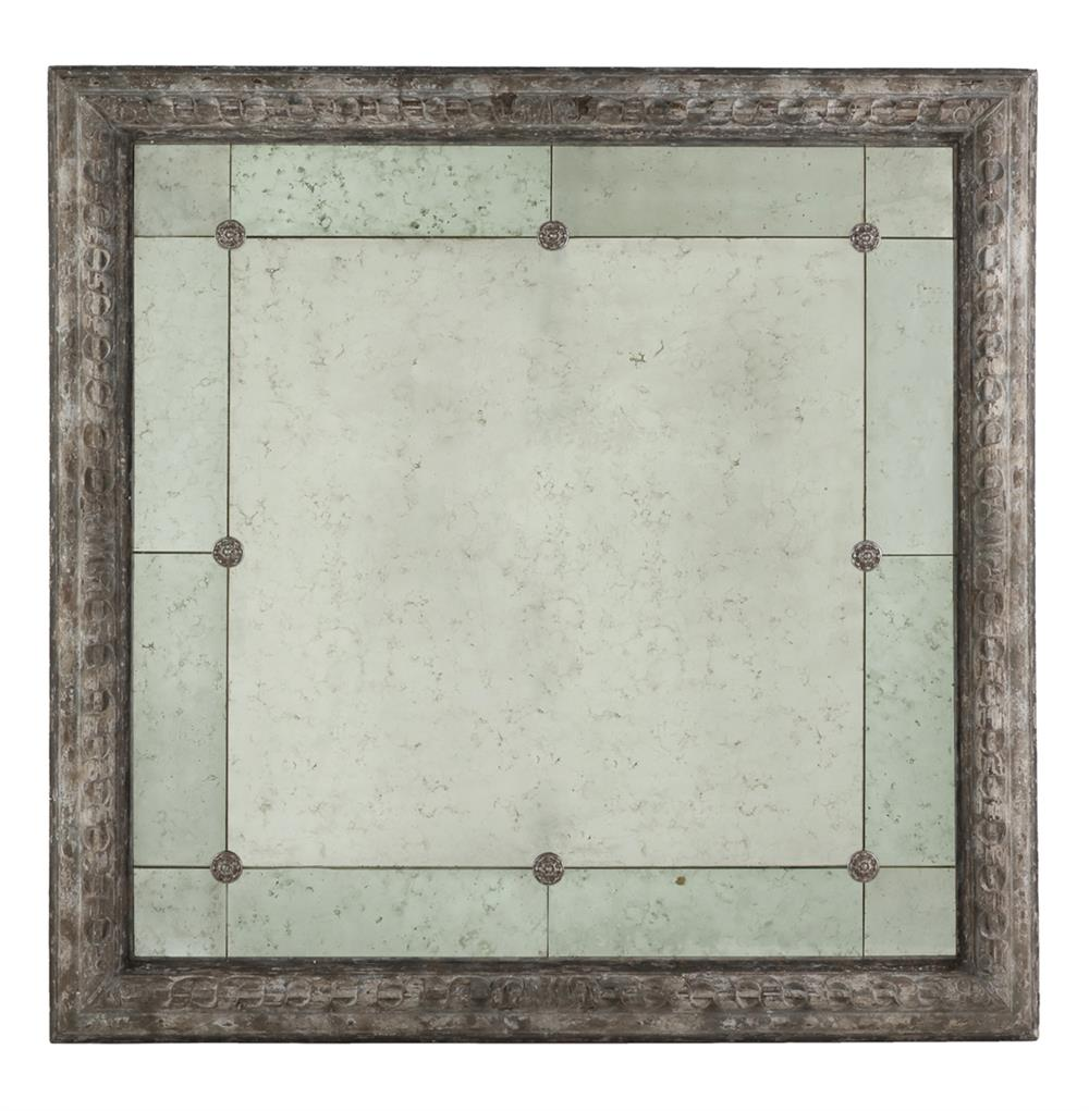 French country antique grey bilzen 48 inch square rosette for Square mirror