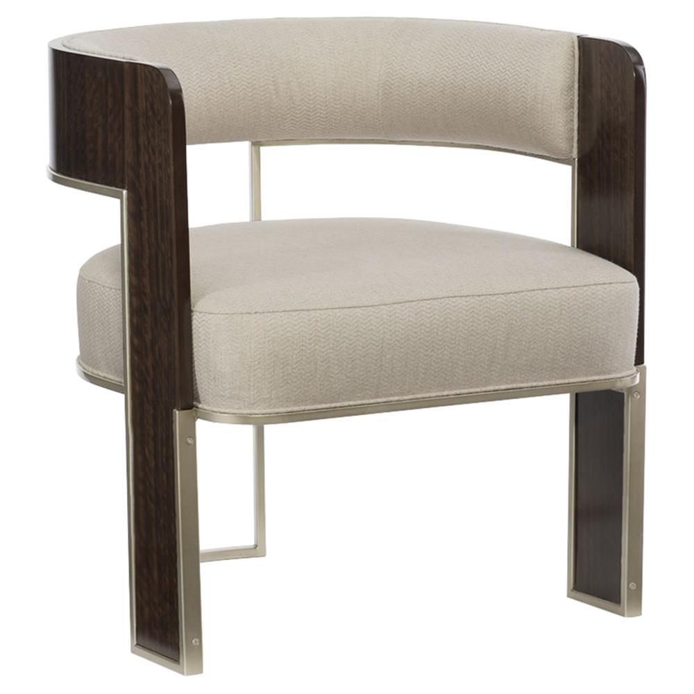 Lorimer Modern Classic Beige Upholstered Bronze Wood Open Barrel Back Chair  | Kathy Kuo Home ...