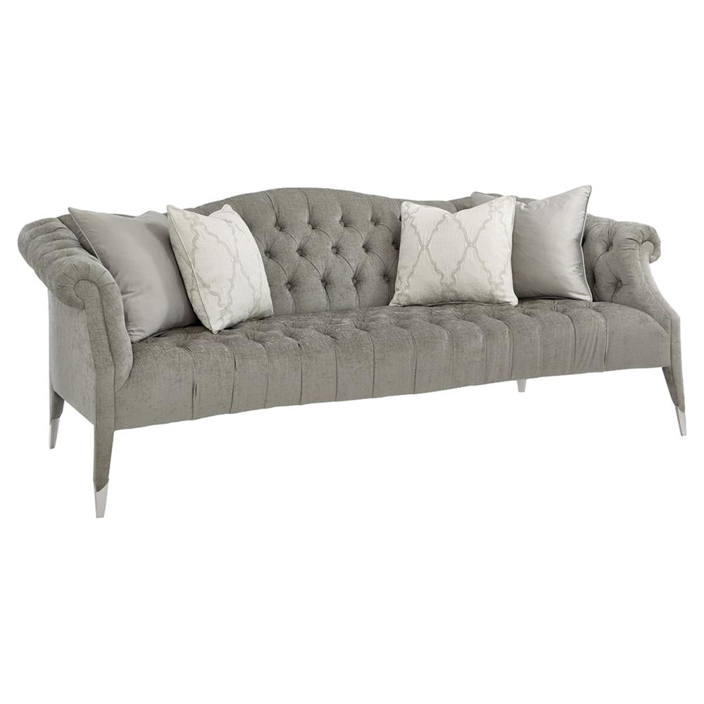 Melina Modern Classic Grey Chenille Upholstered Tufted Camelback Sofa |  Kathy Kuo Home ...