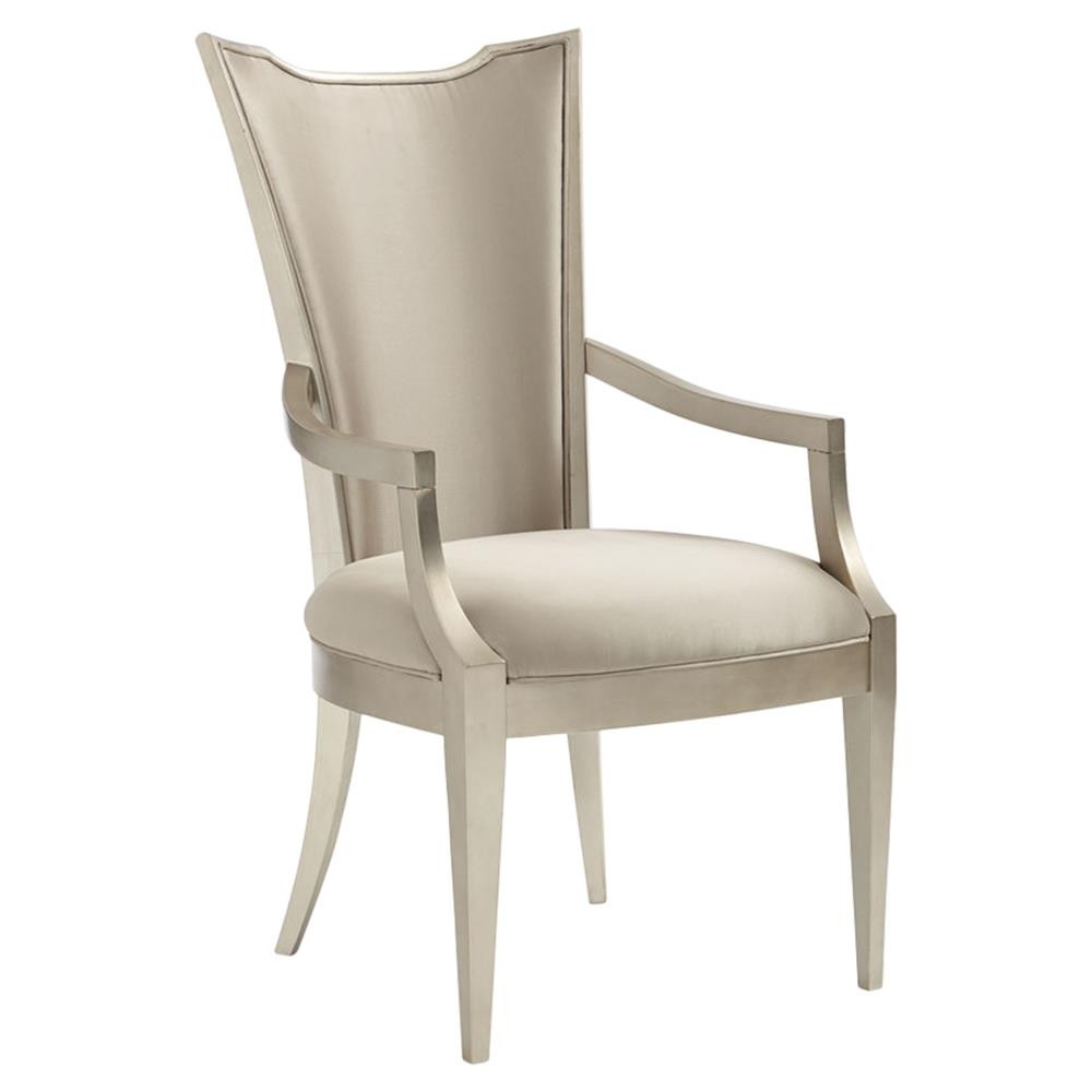 Miranda Modern Classic Silver Leaf Upholstered Dining Arm Chair | Kathy Kuo  Home ...