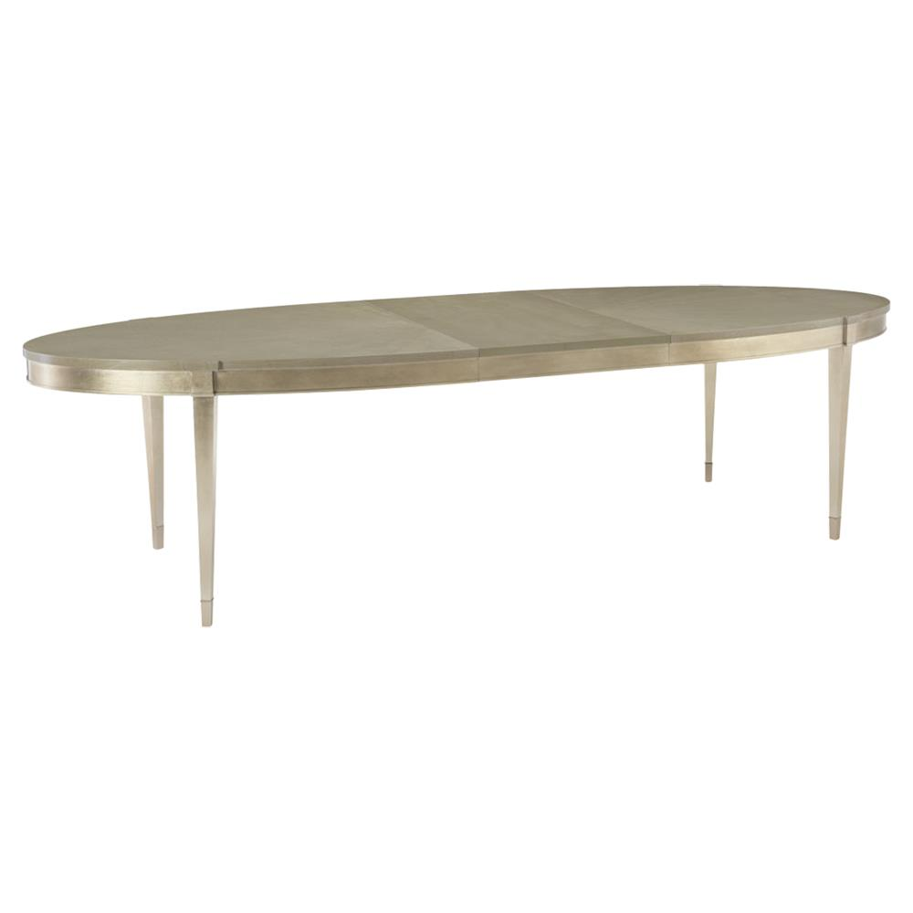 Miranda Modern Classic Taupe Silver Leaf Oval Dining Table Extendable - Modern oval dining table with leaf