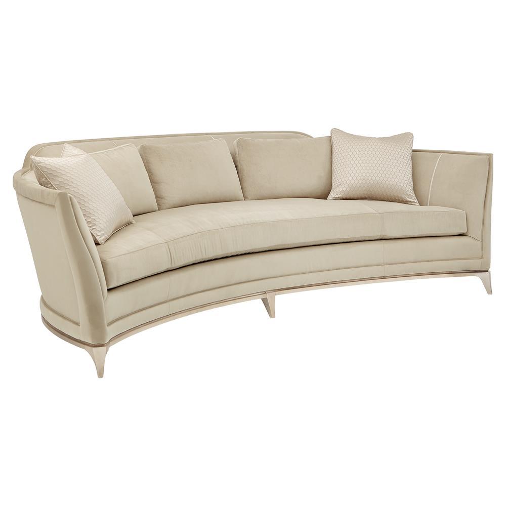 Ninette Modern Classic Beige Velvet Upholstered Curved Silver Leaf ...