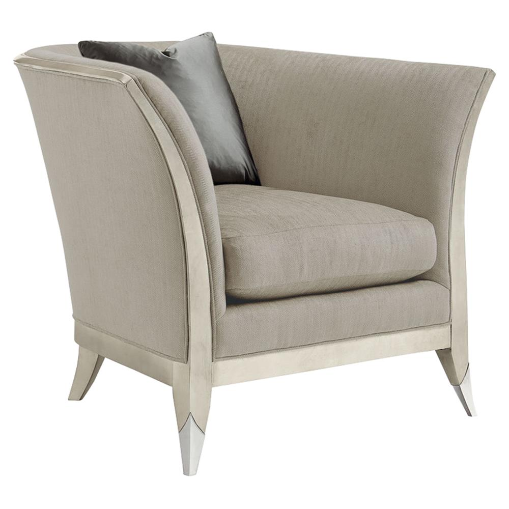 Pasha Modern Classic Exposed Frame Silver Leaf Grey Upholstered Arm Chair    Kathy Kuo Home ...