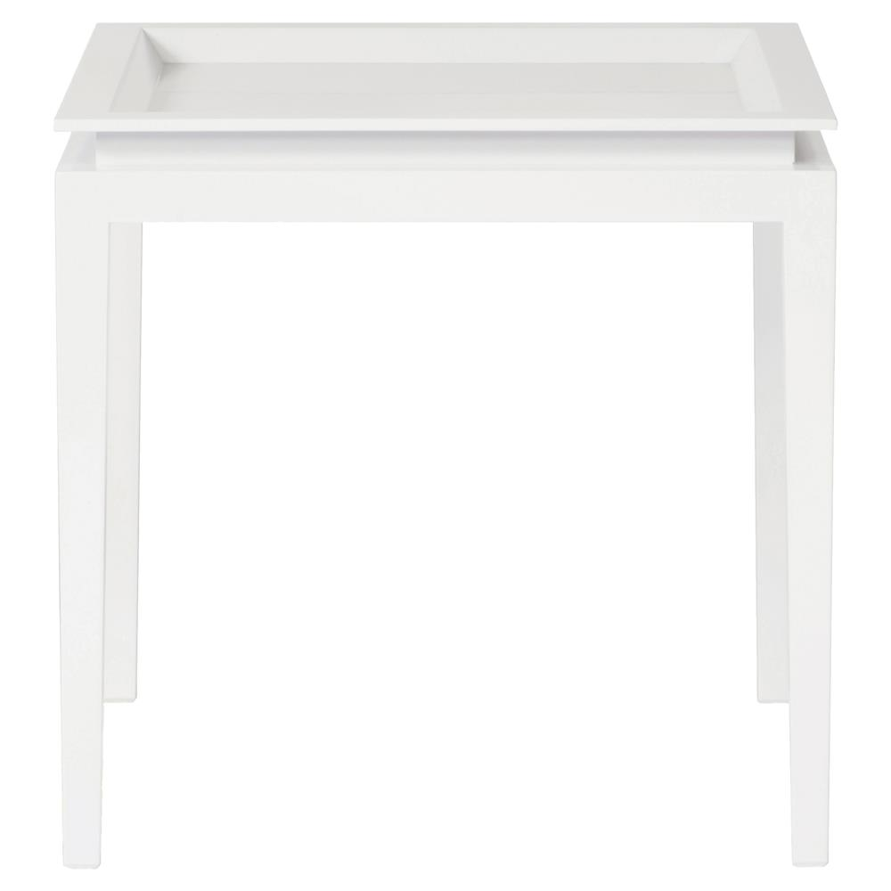 Kataryna Dmoch Ramy Modern Classic Minimal White Lacquer Side End Table    Large | Kathy Kuo