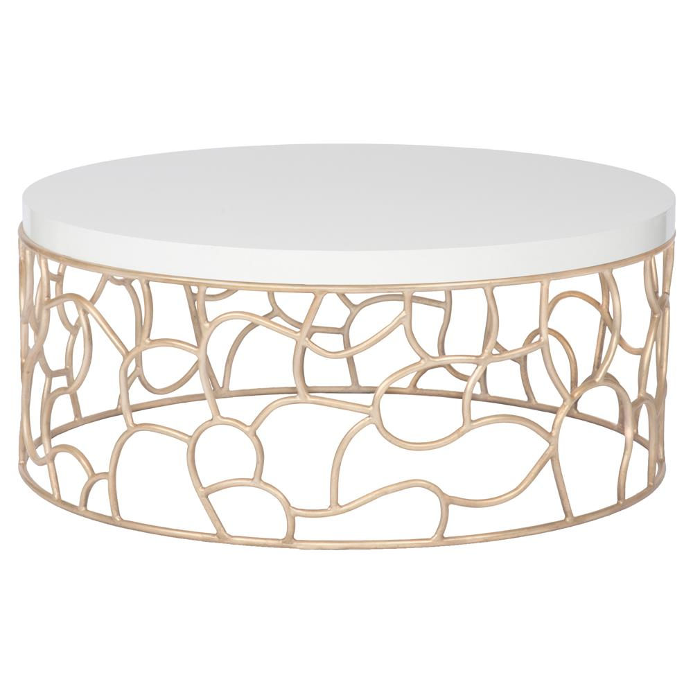 Sally Modern Classic Maple Wood Metal Base Round Coffee Table | Kathy Kuo  Home