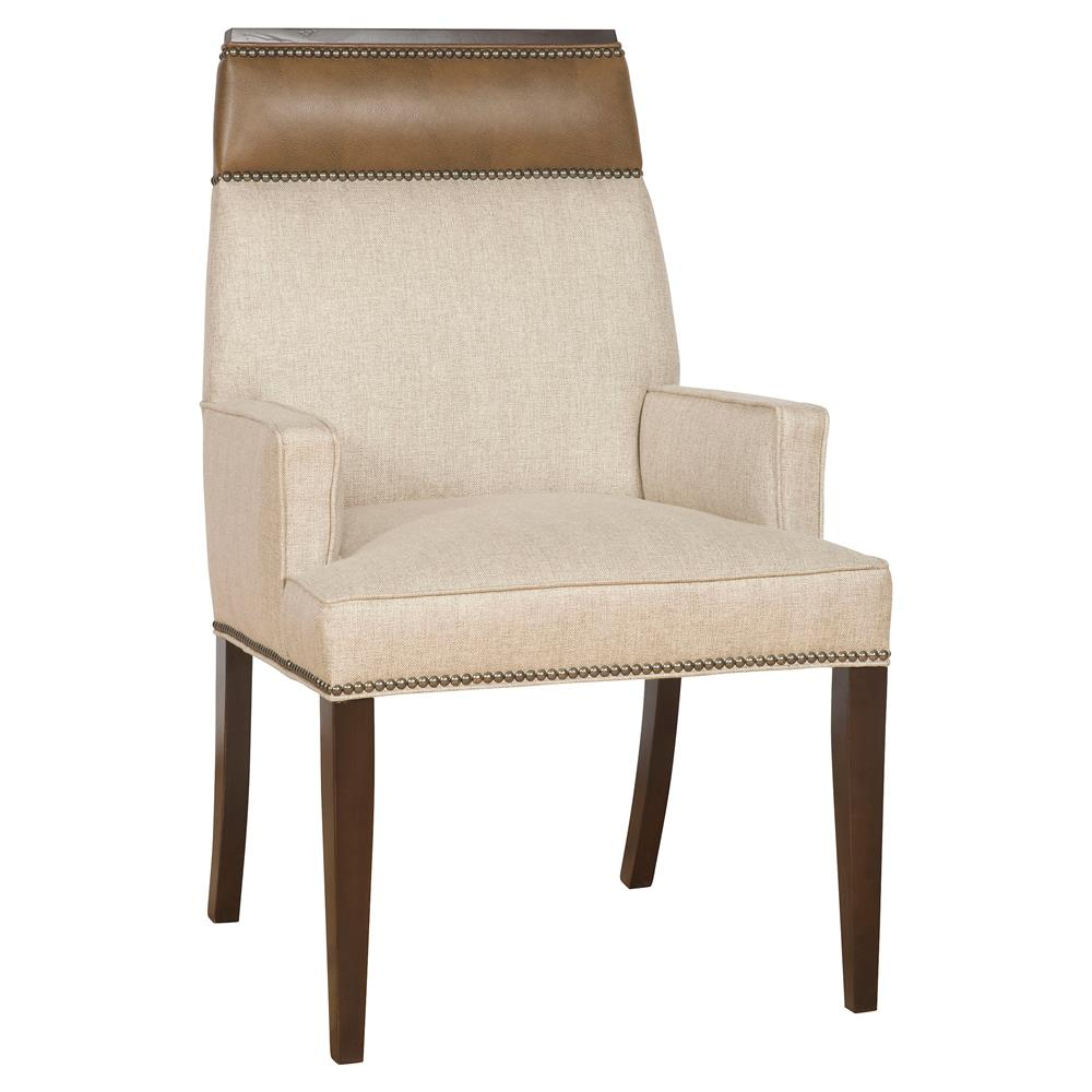 Peony Modern Classic Wood Linen Upholstered Nailhead Dining Arm Chair