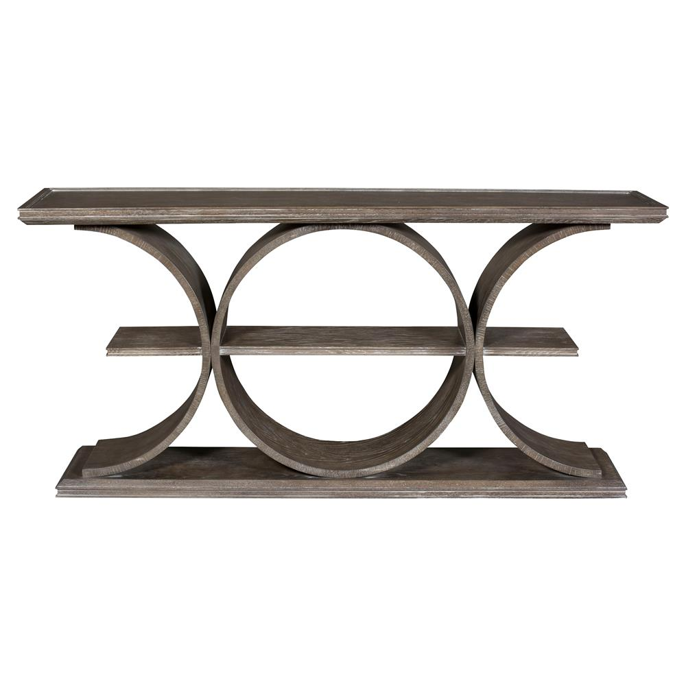 Vanguard Strathmore Modern Classic Oak Solid Brown Curved Console Table |  Kathy Kuo Home