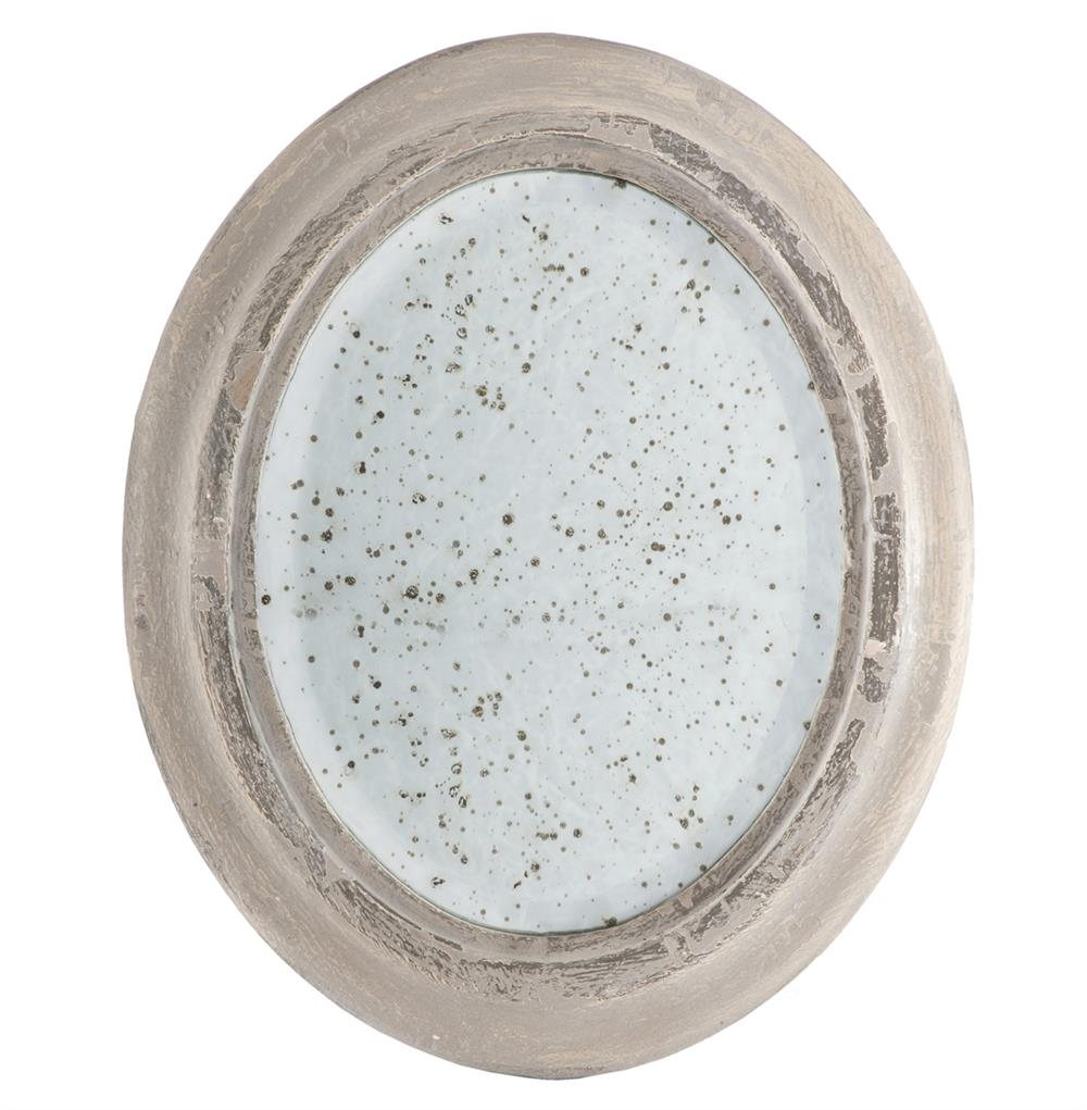 Antique french country gray wash decorative oval mirror for Fancy oval mirror