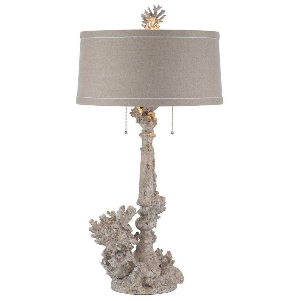 Pair Rustic Chic Coral French Country Table Lamp Kathy