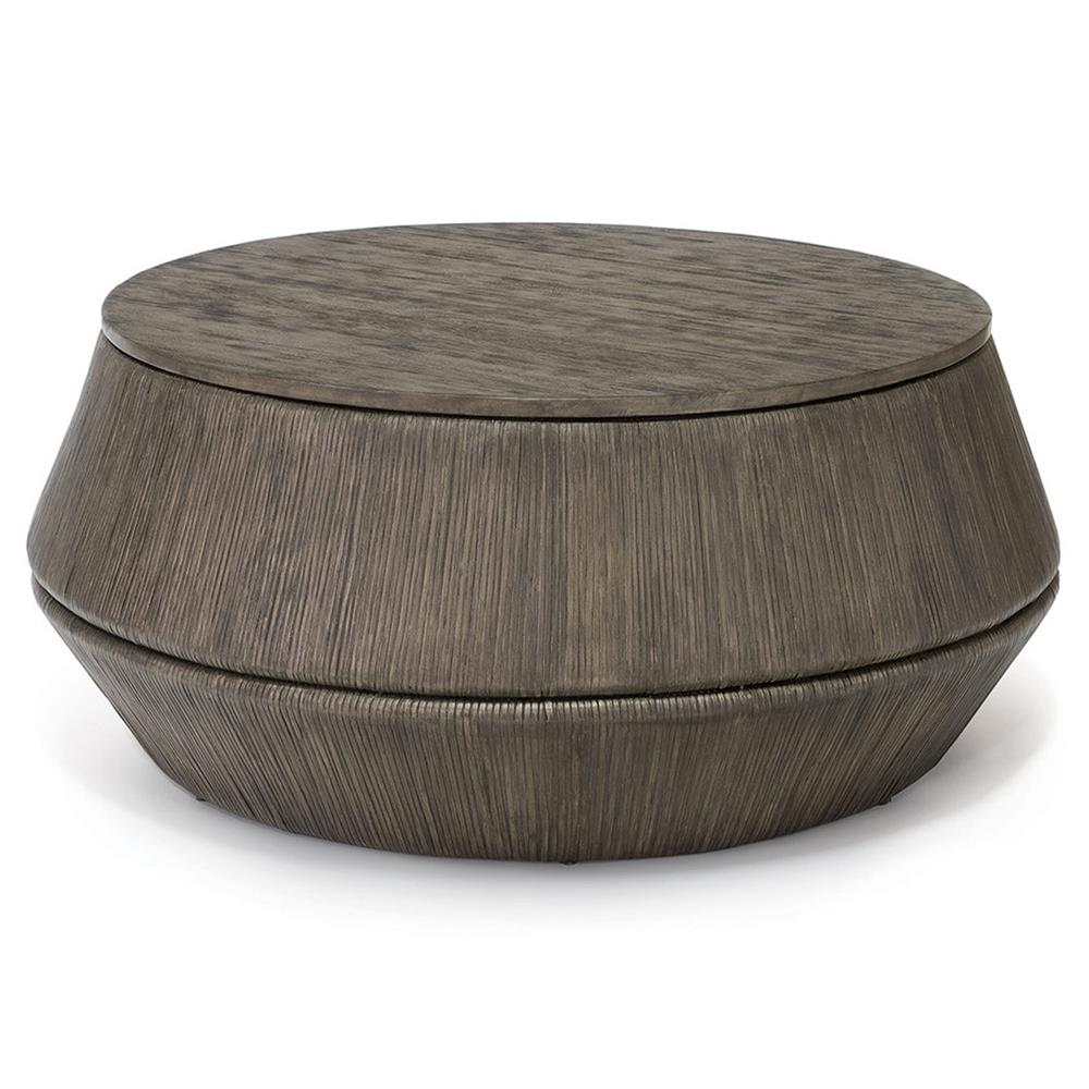 Charmant Palecek Kota Modern Rustic Distressed Hardwood Rattan Round Coffee Table |  Kathy Kuo Home ...