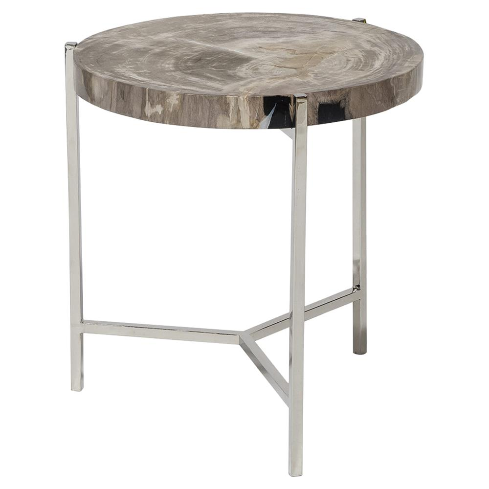 palecek maxwell modern rustic petrified wood metal round side end table. Black Bedroom Furniture Sets. Home Design Ideas